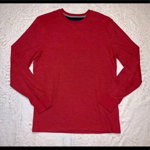 Banana Republic Red Waffle Knit Ling Sleeve Top